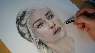 Speed Drawing of Emilia Clarke ( Daenerys Targaryen / Game Of Thrones ) With Colored pencil. Portrait de Daenerys Targaryen ( Emilia Clarke dans Game of ...