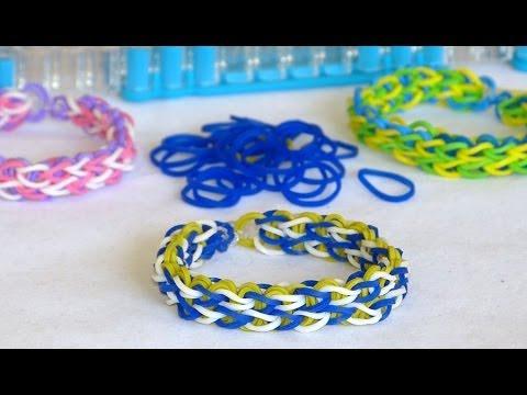 Bracelet double ligne Rainbow loom en 3 couleurs