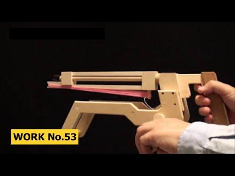 Barrel-change, String-Release Rubber Band Machine Gun/ oggcraft.jp