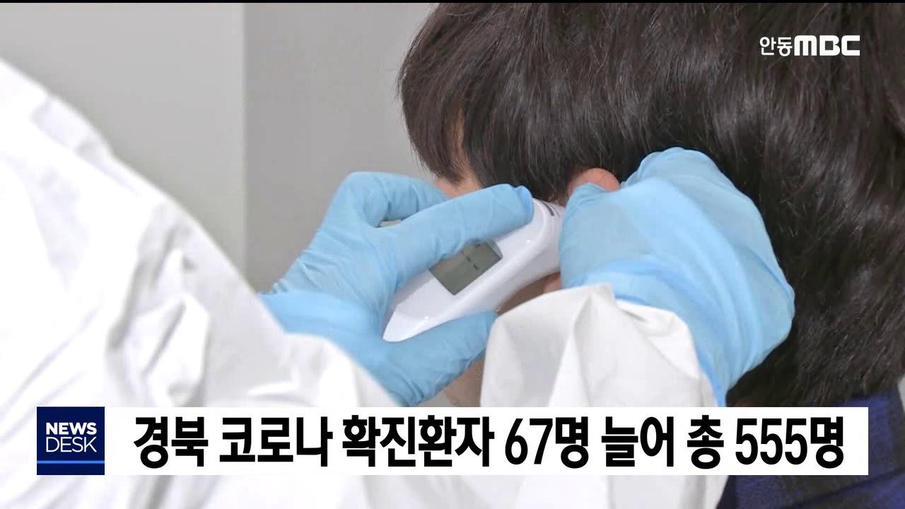 경북 코로나 확진환자 67명 늘어 총 555명