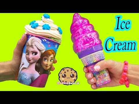 Ice Cream Surprise Blind Bag Disney Frozen Cup & Lisa Frank Cone - Toy Unboxing Cookie Swirl C Video