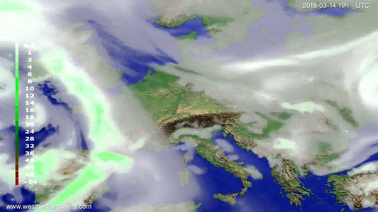 Precipitation forecast Europe 2018-03-12