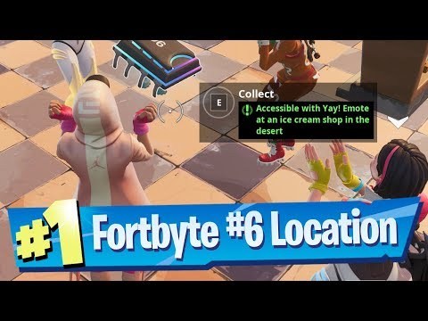 Fortnite Fortbyte #6 Location - Accessible with Yay! Emote at an Ice Cream Shop in the Desert