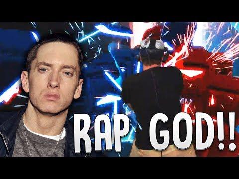 RAPPING RAP GOD WHILE PLAYING RAP GOD (FAST PART) - Beat Saber (видео)