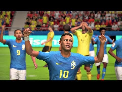 World Cup 2018 Brazil Vs Belgium - World Cup Quarterfinals Full Match Sim (FIFA 18)