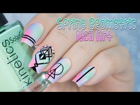 Spring Geometric Nail Art / Весенний дизайн ногтей