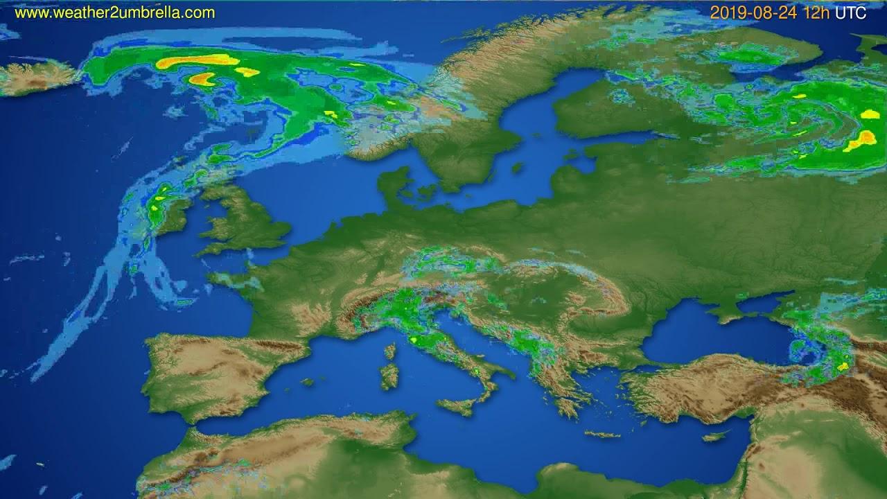 Radar forecast Europe // modelrun: 00h UTC 2019-08-24