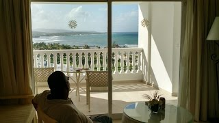 The view from room 26723 (Junior Suite Deluxe Sea View) at the all-inclusive resort Luxury Bahia Principe in Runaway Bay, Jamaica. Filmed in December ...