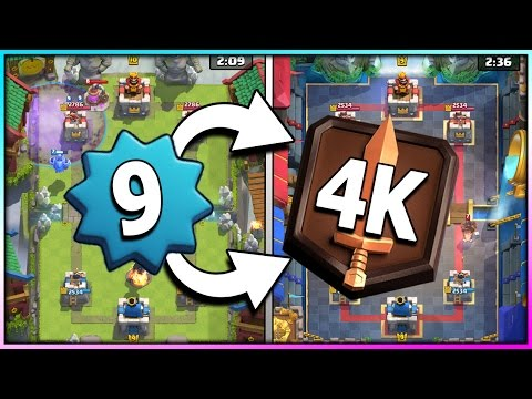 THE ROAD TO 4K AS LEVEL 9 - Ep 6: NEW PERSONAL BEST!! Close to New Legendary Arena 11 - Clash Royale (видео)
