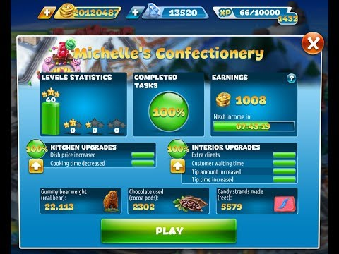 Cooking Fever-Michelle's Confectionery Level 1-40(3 Stars)