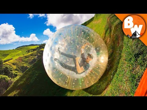 Rolling Off a Mountain in an Inflatable Ball!