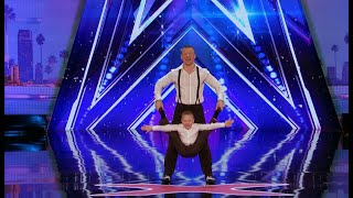 A father and son acrobat team earned a standing ovation from fans and judges alike in an upcoming episode of America's Got Talent. http://bit.ly/2sWHyLe
