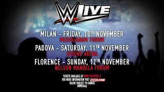 Ritornano in Italia i Superstars della WWE per il WWE Live Tour! Per informazioni sugli spettacoli di Milano, Padova e Firenze andate su ticketone.it . #WWEItaliaMore ACTION on WWE NETWORK : http://wwenetwork.comSubscribe to WWE on YouTube: http://bit.ly/1i64OdTMust-See WWE videos on YouTube: https://goo.gl/QmhBofVisit WWE.com: http://goo.gl/akf0J4