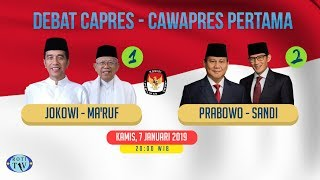 Video [ FULL ] Debat Capres Dan Cawapres 2019 (Debat Pertama) MP3, 3GP, MP4, WEBM, AVI, FLV Januari 2019