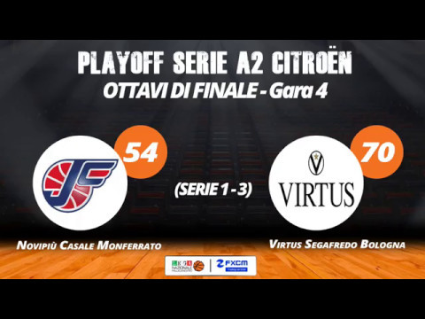 A2 Playoff – Ottavi Gara4, gli highlights di Casale-Virtus