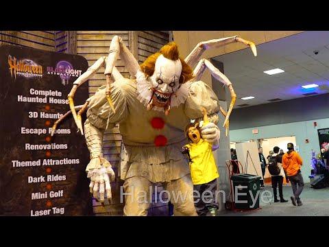 Giant Scary Animatronics! IT Pennywise Clown, Krampus | Transworld HAA Haunters Tradeshow
