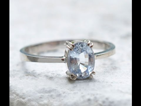 Bold Oval White Sapphire Ring Featured in 18K White Gold Setting