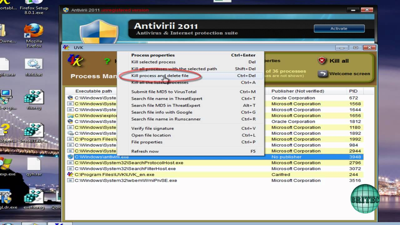 How to Remove Antivirii 2011 by Britec