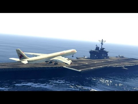 GTA 5 - Unbelievable LANDING On AIRCRAFT CARRIER - AIRBUS  A340-600 Qatar Airlines - GTA 5 Mods
