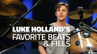 """Here's a collection of TEN grooves and fills that have become Luke's favorites throughout his drumming career - everything from his signature chops to grooves from his famous YouTube drum covers such as """"Humble"""" by Kendrick Lamar.Download the sheet music:►http://www.Drumeo.com/blog/luke-holland-drum-lessons/LESSON INDEX:0:07 - SONG: """"Fragments"""" by Jason Richardson4:18 - Introduction10:40 - Kendrick Lamar """"Humble""""14:20 - The 1975 """"Me""""17:15 - I See Stars """"White Lies""""20:05 - Luke's Signature Chop23:25 - Luke's Signature Groove27:40 - Jason Richardson """"Hos Down""""29:26 - Justin Bieber """"Sorry""""31:48 - Luke's Signature Fill33:14 - Jason Richardson """"Retrograde""""34:58 - Luke's Signature Chop #239:34 - SONG: """"Sorry"""" by Justin Bieber (drums only)42:44 - Q & A!52:51 - SONG: """"Retrograde"""" by Jason RichardsonTry Drumeo Today:►http://www.Drumeo.com/trial/Follow us!►Facebook: http://www.facebook.com/drumeo/►Instagram: http://www.instagram.com/drumeoofficial/About Luke:Luke Holland is best known for his engaging, high quality drum videos he posts to his YouTube channel (LukeHollandDrums) that has grown rapidly since it's inception in 2009, garnering over 360,000 subscribers and over 55 million views. In 2013, Luke was voted third on Alternative Press' Drummer of the Year, as well as second for Modern Drummer's best up and coming drummer. Apart from YouTube, Luke Holland recorded and toured with the metalcore band The Word Alive from 2013 to 2016, worked as a session drummer for I See Stars, and also recorded and toured with Jason Richardson.Luke plays:DW DrumsMeinl CymbalsRemo DrumheadsVater Sticks"""