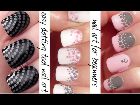 tool - 3 easy nail art designs (that are great for beginners) and made with a dotting tool! A gradient, an ombre and some dotted lace. Dotters are the most basic of nail art tools and easily found...