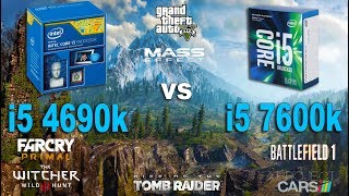 i5 4690k vs i5 7600k Test in 7 Games (GTX 1060)Games:Far Cry Primal Battlefield 1 - 00:55The Witcher 3 - 02:59Mass Effect Andromeda - 04:36Grand Theft Auto V - 05:53Project Cars - 08:00Rise of the Tomb Raider - 09:20System: Windows 10Intel i5 7600k 3.8GhzAsus Z170-PRAM 2400MhzIntel i5 4690k 3.5GhzAsus B85M-ERAM 1600MhzGTX 1060 6Gb16Gb RAM
