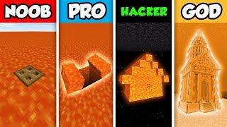 NOOB vs PRO vs HACKER vs GOD : FAMILY LAVA SECRET BASE in Minecraft! (Animation)