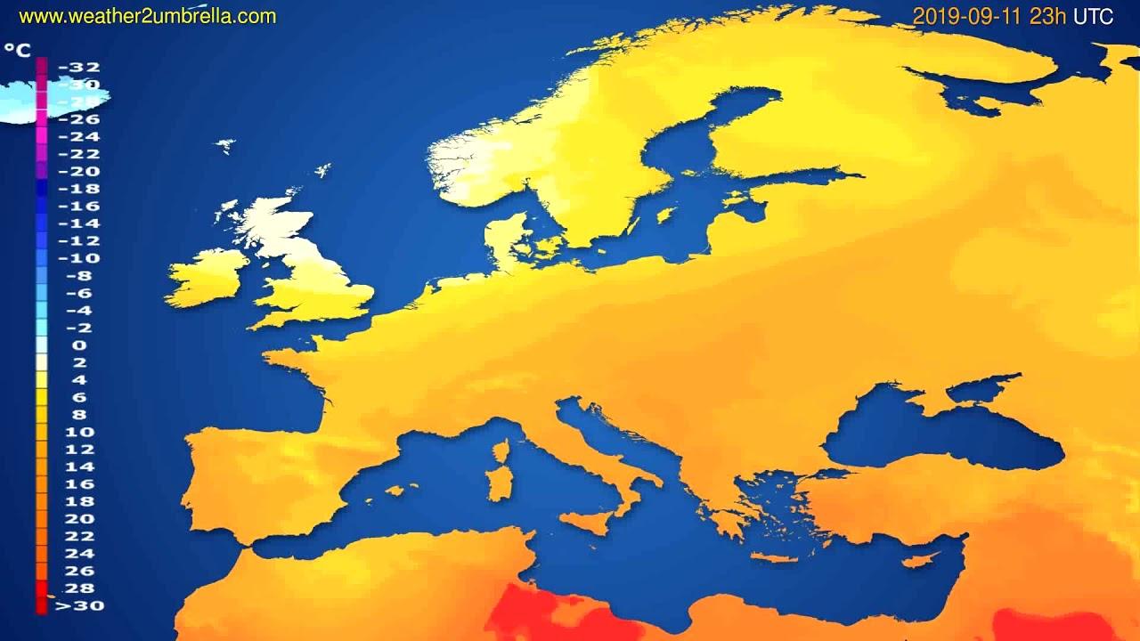 Temperature forecast Europe // modelrun: 12h UTC 2019-09-08