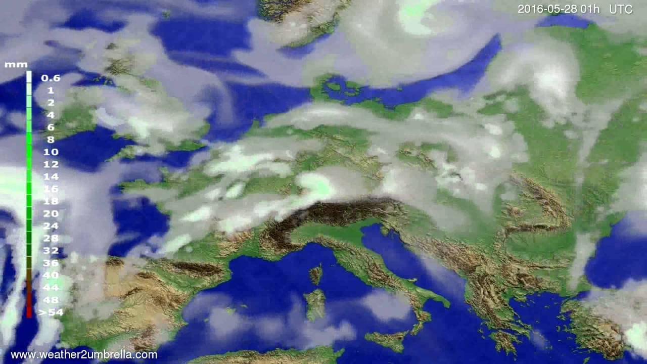 Precipitation forecast Europe 2016-05-25