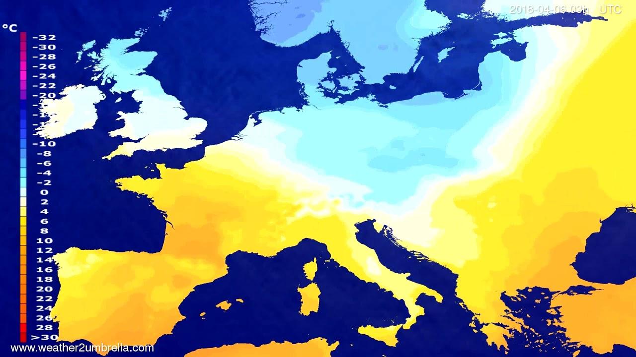 Temperature forecast Europe 2018-04-03