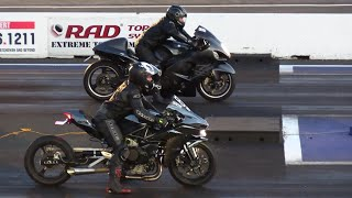 Hayabusa vs H2 Kawasaki Ninja-rematch- - superbikes drag racing