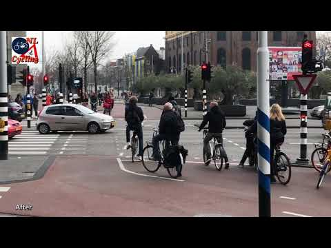 How Amsterdam deals with its crowded cycle paths with a banana and a french fry cone