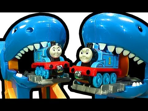 thomas - Best review of Thomas The Tank Engine Thomas & Friends Take N Play Thomas Shark Attack set. Possibly one of the strangest Thomas play sets I have reviewed. T...