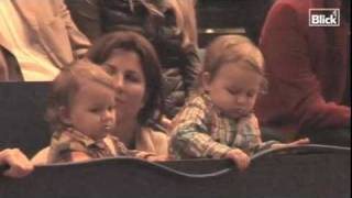 Roger Federer's twin daughters Myla Rose and Charlene Riva attended the Davidoff Swiss Indoors final 2010 in Basel on 07.11.2010.