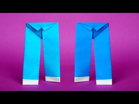 Origami Hose basteln mit Papier - Einfache DIY Origami Kleidung falten mit Kindern / Anfänger