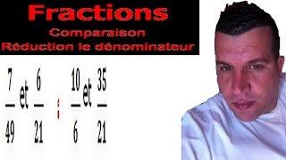 Maths 6ème - Fractions comparaison et réduction le dénominateur Exercice 6