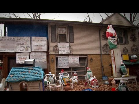 Display - Ross Township, Pennsylvania, residents say Bill Ansell is terrorizing them with his anti-Christmas spirit.