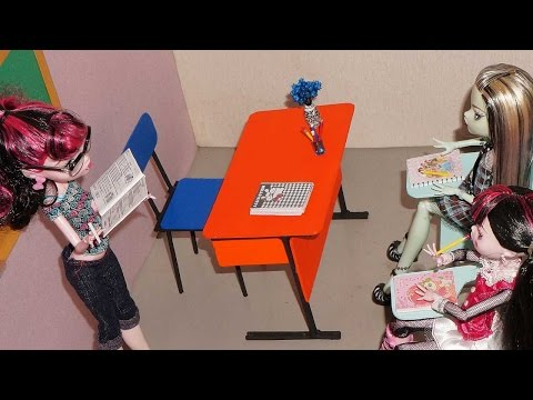 How to make an office table for doll (Monster High, MLP, EAH, Barbie, etc)
