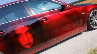 BMW 5 Airbrush Custompaint Candy Red Lackierung Sexy Girls Car Paint