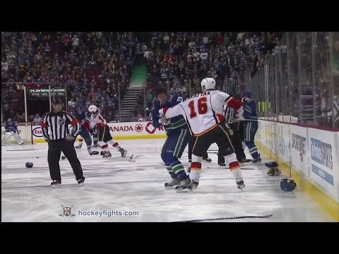 Canucks - Brian McGrattan vs Tom Sestito, Kevin Westgarth vs Kellan Lain, Ladislav Smid vs Kevin Bieksa, Blair Jones vs Dale Weise, and Chris Butler vs Jason Garrison ...