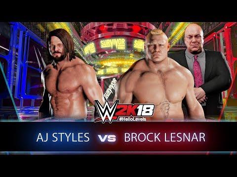 WWE 2K18 AJ Styles vs Brock Lesnar Survivor Series 2017 Full Match | Hello Levels