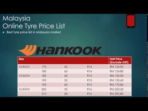 Malaysia Online Tyre Price List - 2017