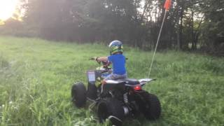 10. My 3 yr old son on an outlaw 110