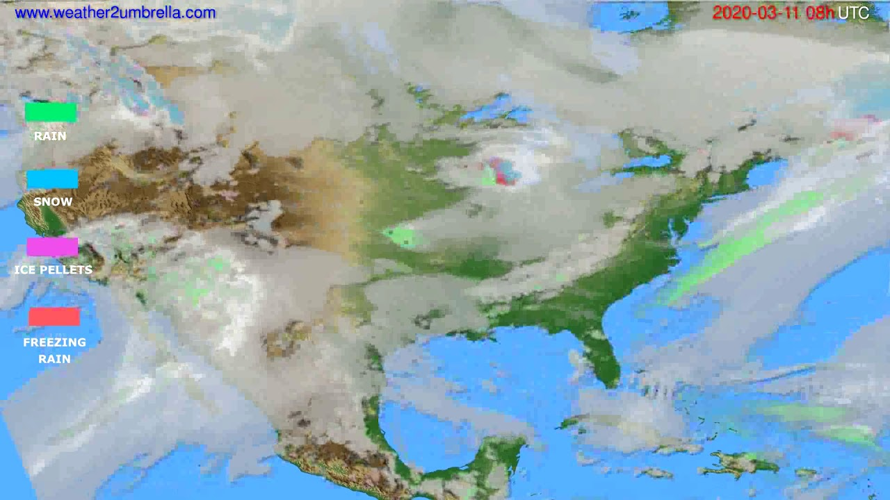 Precipitation forecast USA & Canada // modelrun: 12h UTC 2020-03-10