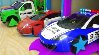 Learn Shapes with Police Car Assembly Rectangle Tyres, Magic Garage Cartoon for Toddlers