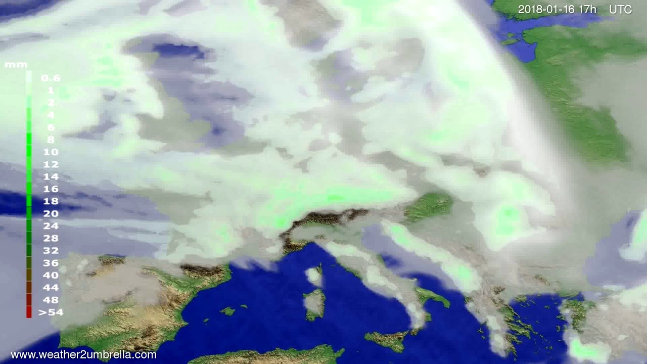 Precipitation forecast Europe 2018-01-14