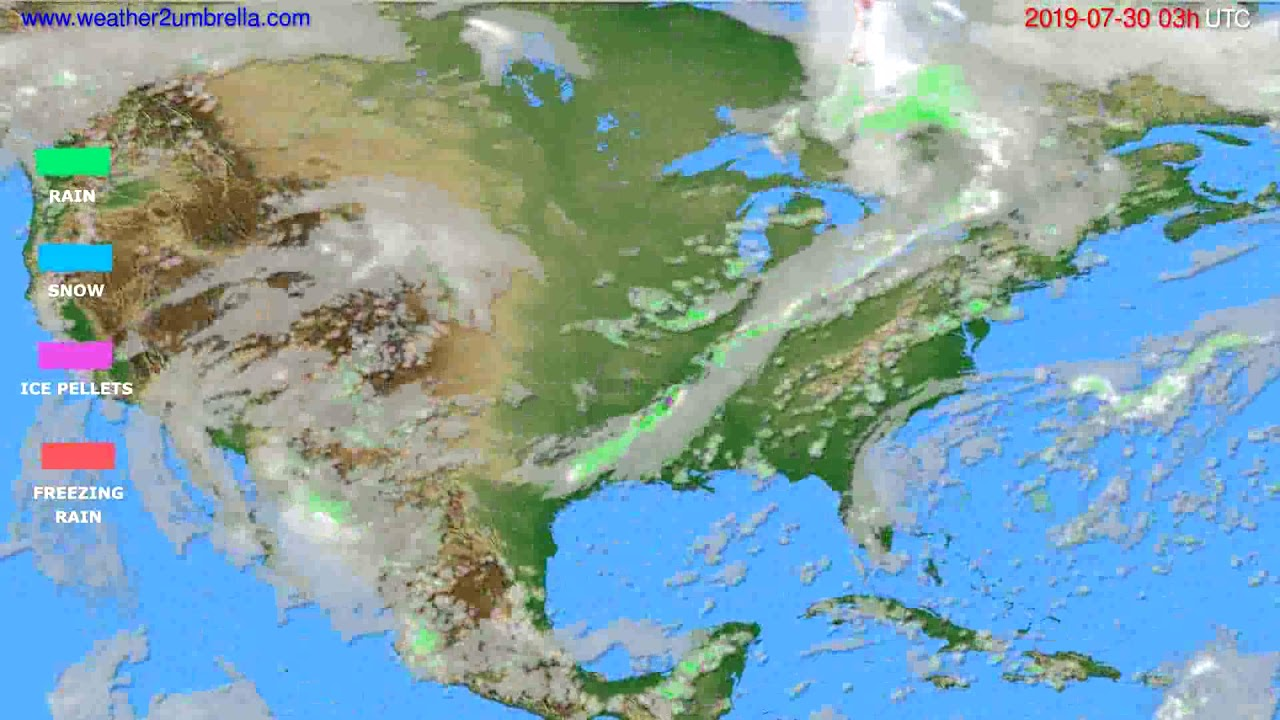 Precipitation forecast USA & Canada // modelrun: 00h UTC 2019-07-27