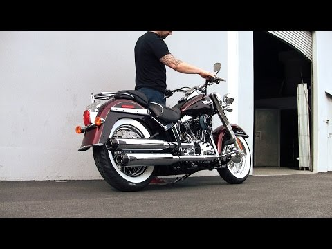 Dual Long Slip-On Exhaust for 15-17 Softail Deluxe/Slim Video