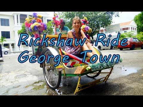 Our fun rickshaw ride city tour around George Town, Penang, Malaysia