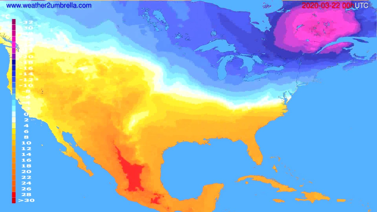 Temperature forecast USA & Canada // modelrun: 00h UTC 2020-03-21